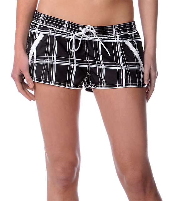 Hurley Locals Only Black Plaid Board Shorts
