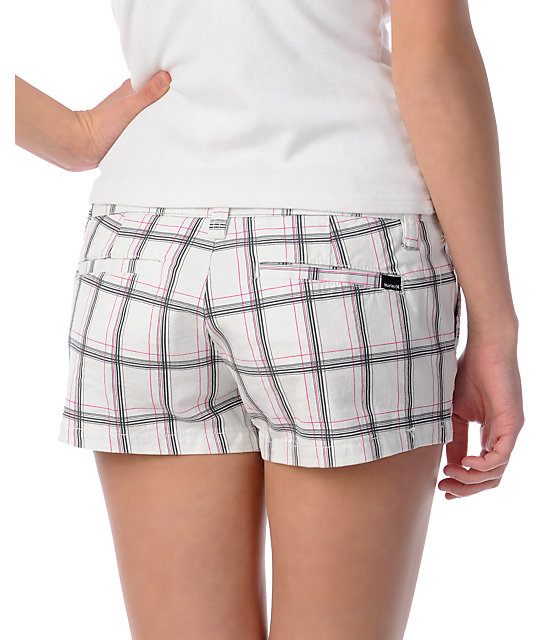 Hurley Lowrider White Plaid Shorts