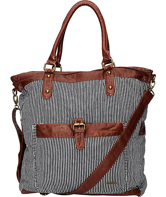 Hurley One & Only Pinstripe Book Tote Bag