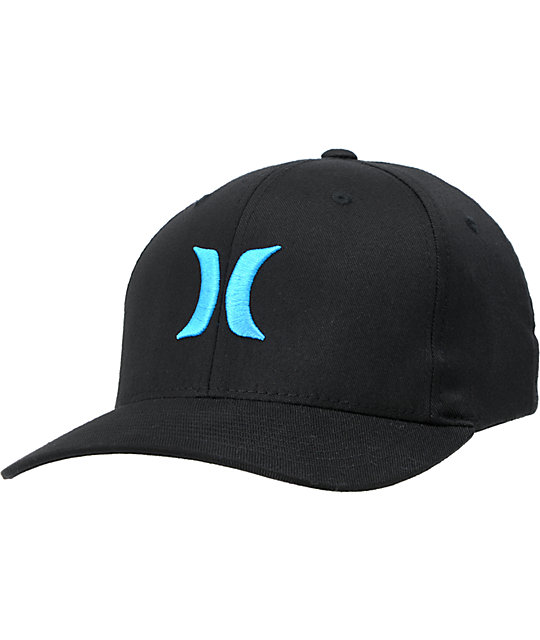 distinctive style custom autumn shoes Hurley One And Only Black & Cyan Flexfit Hat | Zumiez