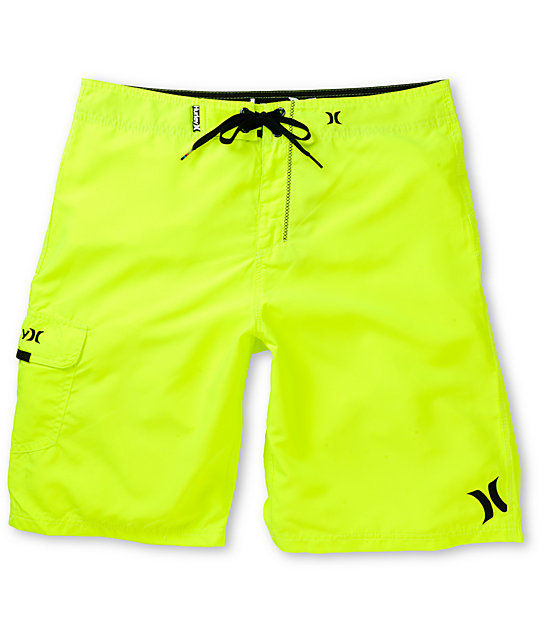 Hurley One And Only Neon Yellow 22 Board Shorts