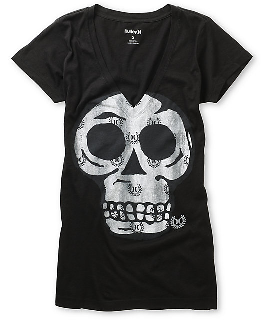 Hurley Spin On Sunshine Black V-Neck T-Shirt