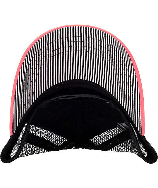 Hurley Striped Black & Coral Snapback Trucker Hat