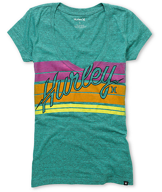 Hurley Vice Heather Teal V-Neck T-Shirt