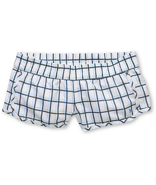 Hurley White Plaid Supersuede Board Shorts