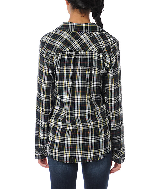 Hurley Wilson Black Plaid Button Up Shirt