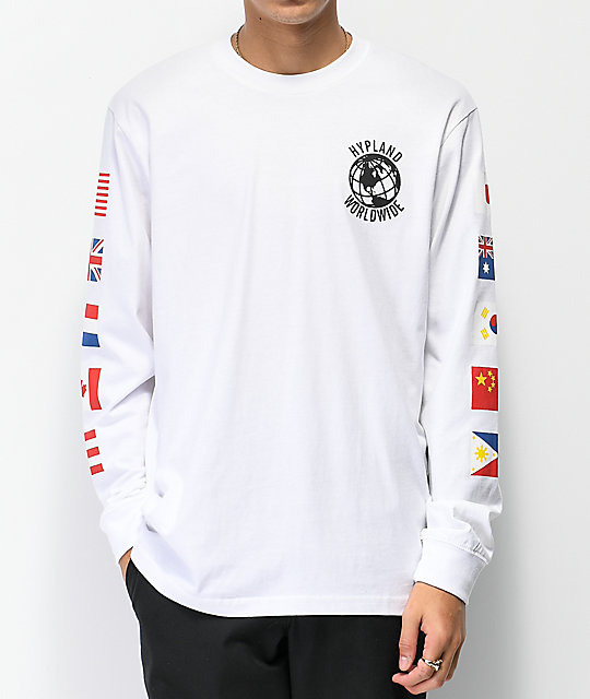Hypland Worldwide White Long Sleeve T-Shirt