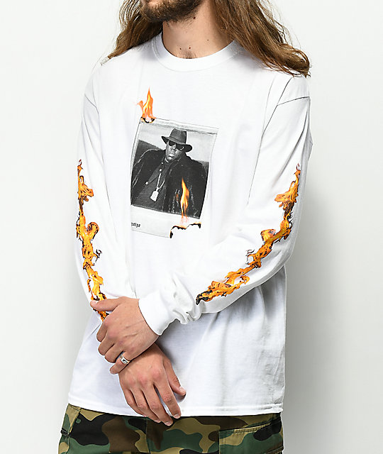 Hypnotize Biggie Fire Polaroid White Long Sleeve T-Shirt
