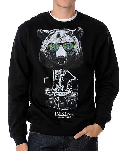 IMKing Bearbot Black Crew Neck Sweatshirt