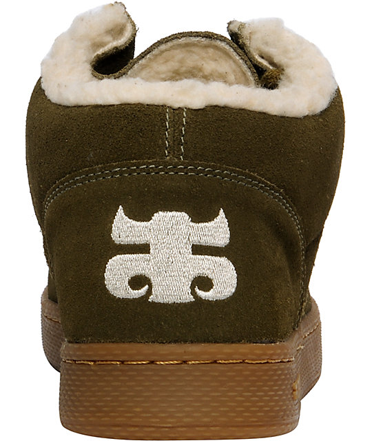 15b1773f09642b ... IPATH Cats Dark Olive Suede Natural Shearling Shoes ...