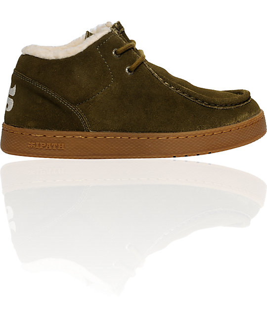 45dc32b40025da IPATH Cats Dark Olive Suede Natural Shearling Shoes