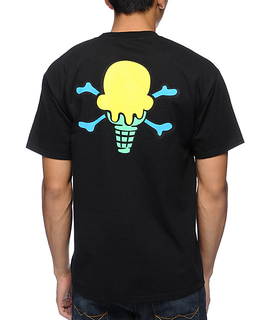 Ice Cream Back Bone Black T-Shirt
