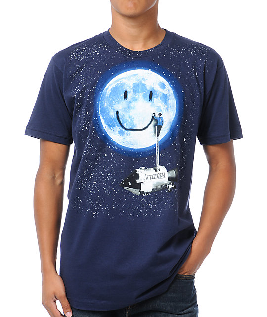 Imaginary Foundation Moon Tag Navy Blue T-Shirt