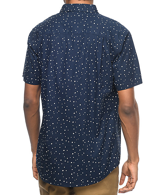 Imperial Motion Dobby Navy Short Sleeve Button Up Shirt