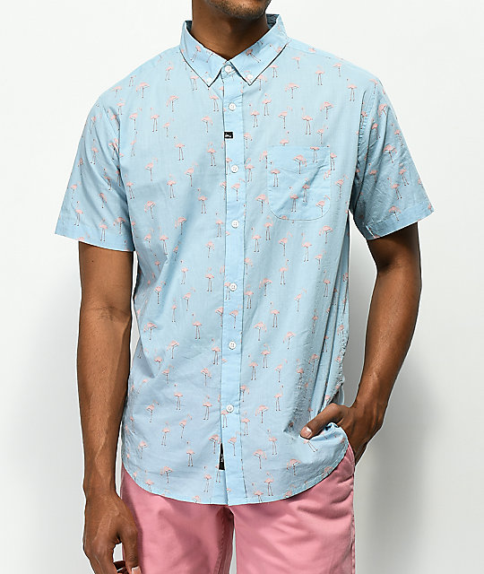 Imperial Motion Flamingo Light Blue Woven Button Up Shirt