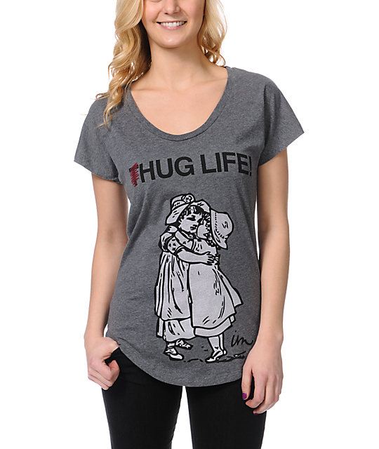 Imperial Motion Hug Life Grey Scoop Neck T-Shirt