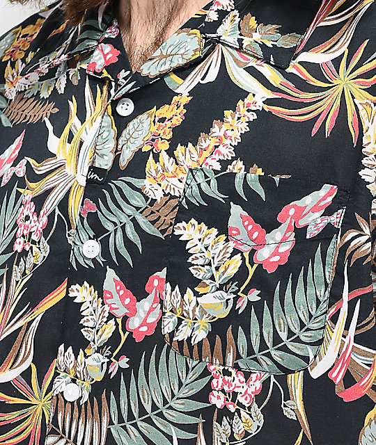Imperial Motion Kingpin Navy Floral Woven Short Sleeve Button Up Shirt