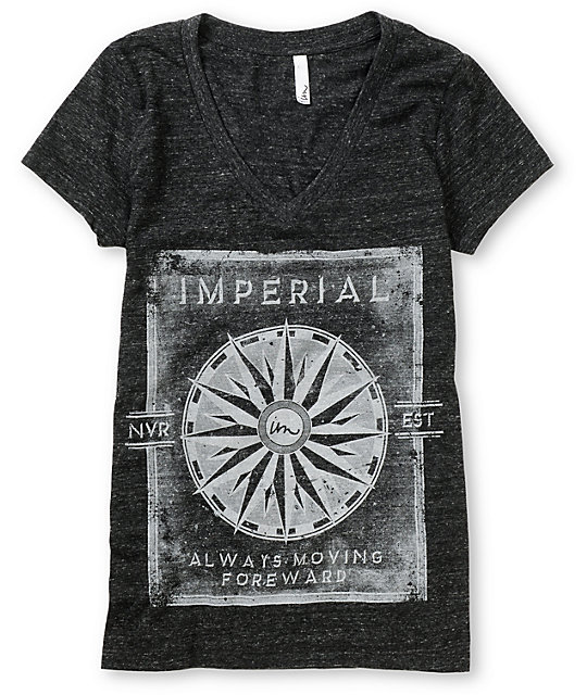 Imperial Motion Moving Forward Charcoal V-Neck T-Shirt