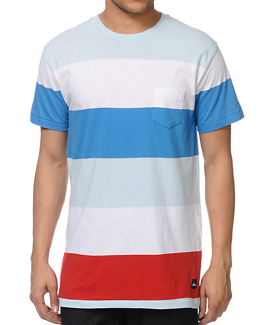 Imperial Motion Rufus Mint, White & Blue Stripe Pocket T-Shirt