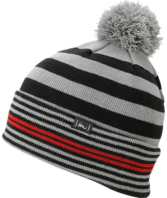 Imperial Motion Squeeze Grey & Black Pom Roll-Up Beanie