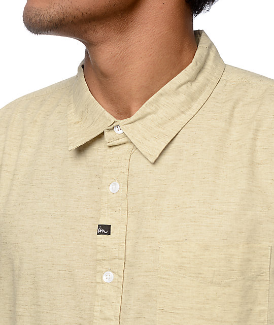 Imperial Motion Triumph Melange Tan Short Sleeve Button Up Shirt