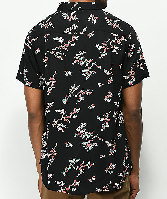 Imperial Motion Vacay Black Floral Short Sleeve Button Up Shirt