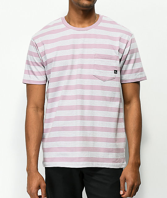 Imperial Motion Vintage Mauve & Light Blue Striped Pocket T-Shirt