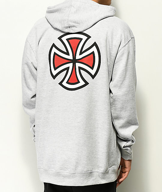 Independent Bar Cross sudadera gris con capucha