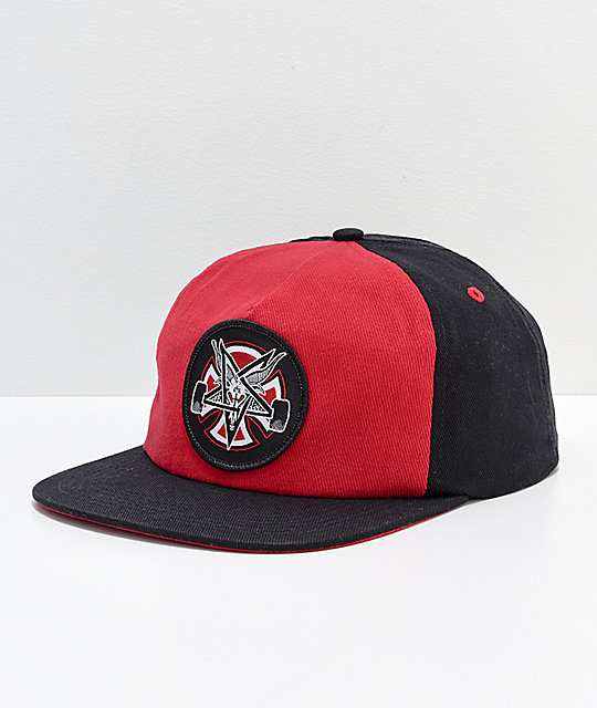 Independent x Thrasher Pentagram Red   Black Snapback Hat  1d799524cb76