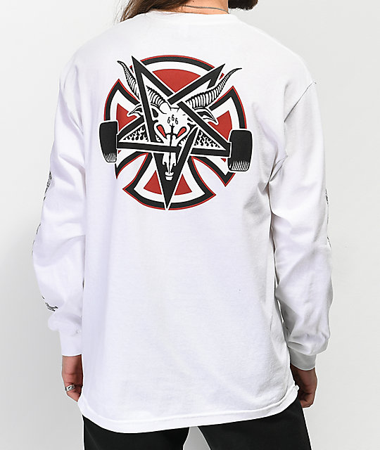 Independent x Thrasher Pentagram camiseta blanca de manga larga
