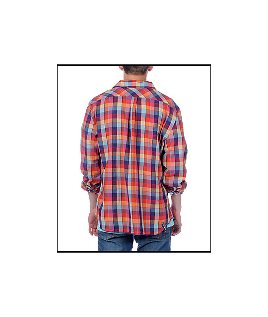 Insight No Introduction Red Long Sleeve Woven Shirt
