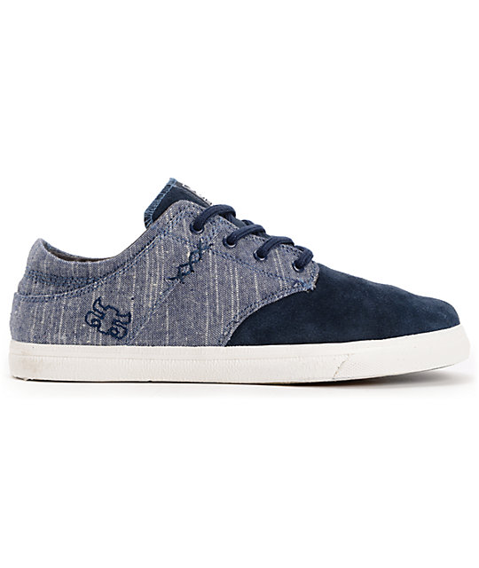 Ipath Nomad S Dark Blue Linen & Suede Skate Shoes