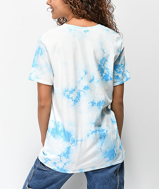 JV by Jac Vanek Earth Is Cool Blue & White Tie Dye T-Shirt