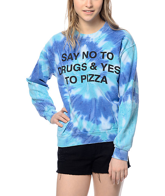 JV by Jac Vanek Say No Blue Tie Dye Crew Neck Sweatshirt