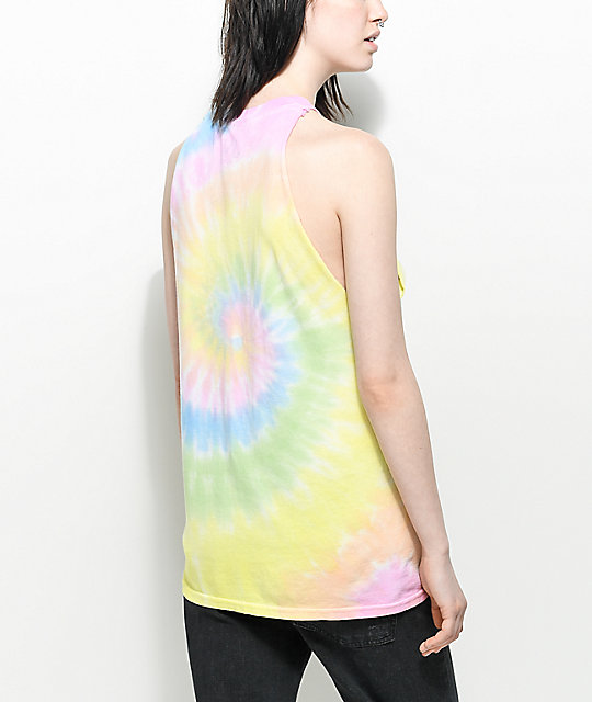 JV by Jac Vanek Send Noods Tie Dye Muscle Tank Top