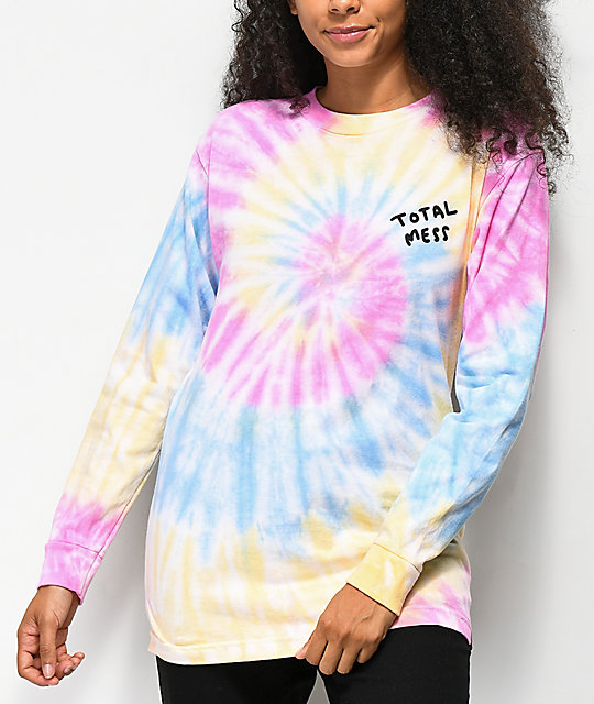 JV by Jac Vanek Total Mess Tie Dye Long Sleeve T-Shirt