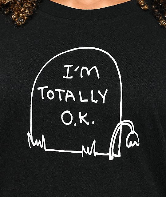 JV by Jac Vanek Totally OK Grave Black T-Shirt