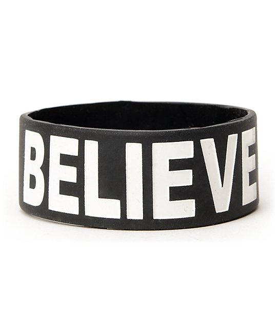 Jac Vanek Believe Black Rubber Bracelet