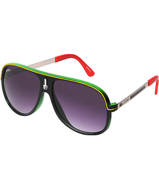 Jack Martin One Man Wolf Pack Rasta Sunglasses