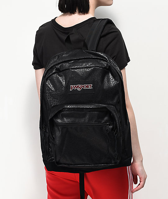 JanSport Right Pack Expressions Black Gel Leopard Backpack