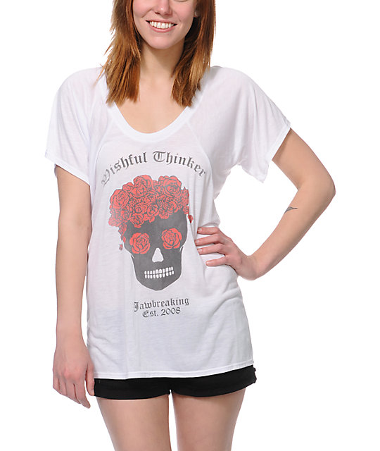 Jawbreaking Wishful Thinker White Flowy T-Shirt