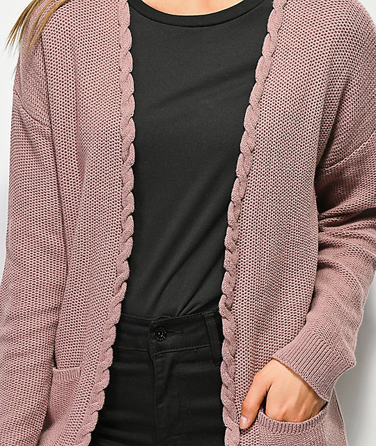 Jolt Carli Lace Detail Purple Cardigan