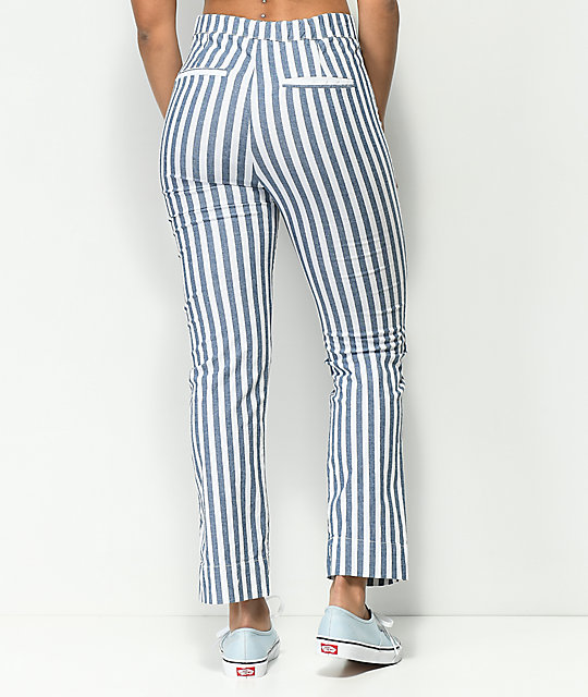 Jolt Jilden Blue & White Stripe Crop Pants
