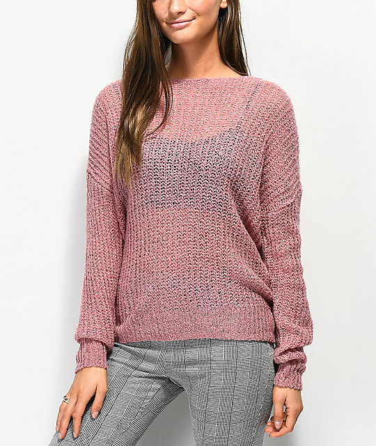 Jolt Knot Back Mauve Sweater