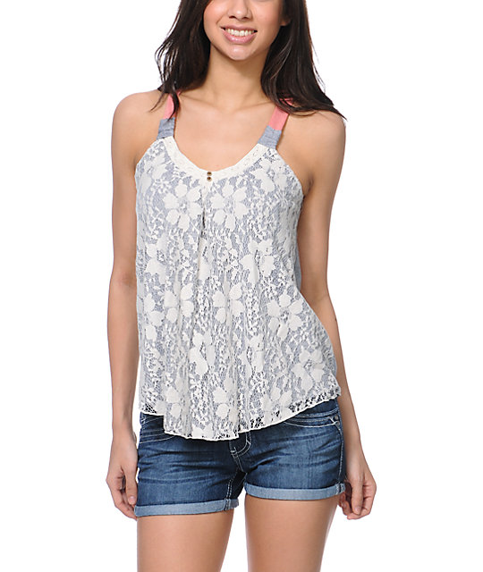 Jolt Lace Overlay Grey & Coral Tank Top