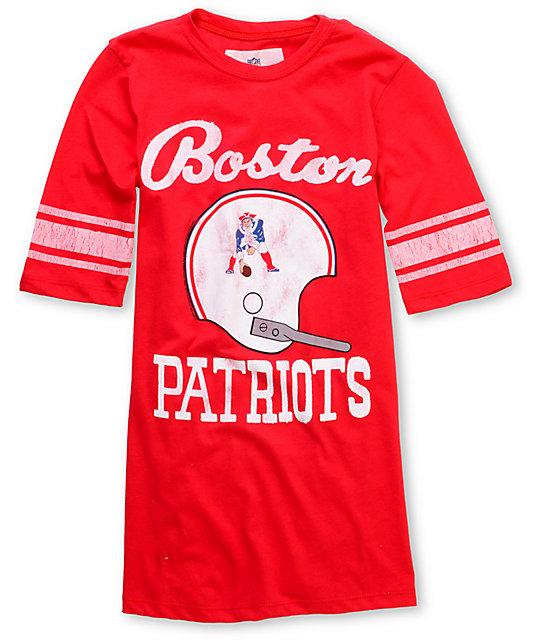low priced 7a514 6e916 Junk Food NFL Boston Patriots Red Football T-Shirt   Zumiez
