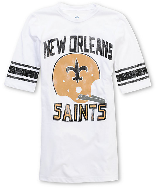 Junk Food NFL New Orleans Saints White Football T-Shirt