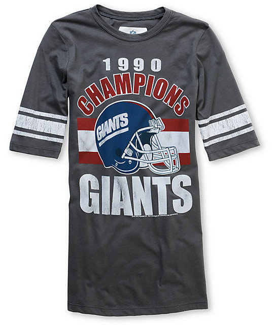 Junk Food NFL New York Giants Charcoal Football T-Shirt