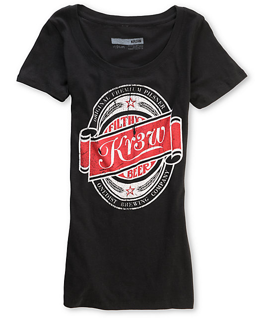 KR3W Beers Black Scoop Neck T-Shirt