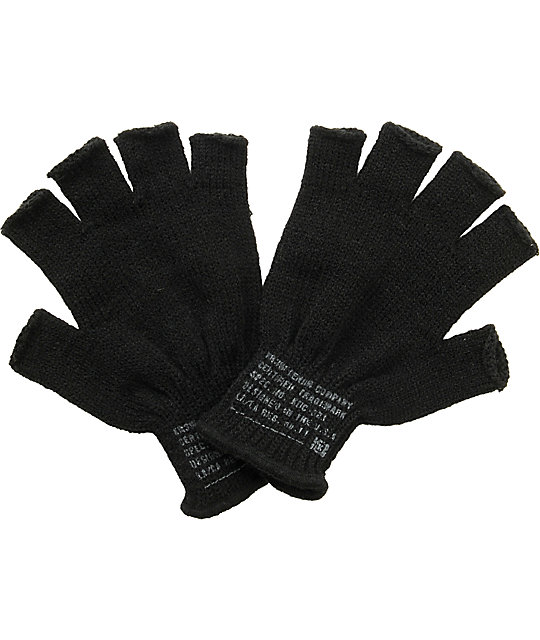 KR3W Black Fingerless Gloves